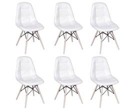 Kit com 6 Cadeiras Eames Botonê Base Eiffel de Madeira Branca