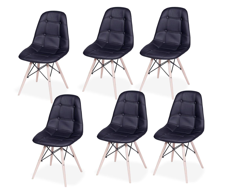 Kit com 6 Cadeiras Eames Botonê Base Eiffel de Madeira Preta
