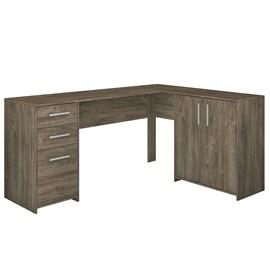 Mesa de Canto em L para Escritório com 2 Gavetas e 3 Portas Canela NT2005 Notável Móveis