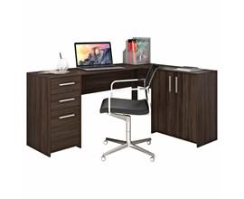 Mesa de Canto em L Para Escritório com 2 Gavetas e 3 Portas Malbec Trend Nt2005 Notável Móveis