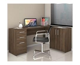 Mesa de canto em L para escritório com 2 Gavetas e 3 Portas Nogal Trend NT2005 Notável Móveis