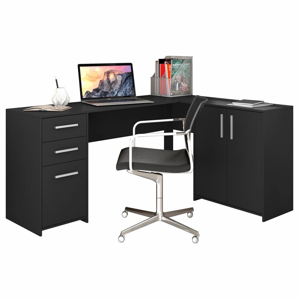 Mesa de canto em L para escritório com 2 Gavetas e 3 Portas Preto NT2005 Notável Móveis