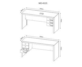 Mesa de Escritório 3 Gavetas Me4113 Branco Tecno Mobili