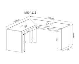Mesa de Escritório Angular Me4116 Branco Tecno Mobili