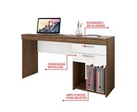 Mesa de Escritório Office Nogal com Branco Notável Móveis