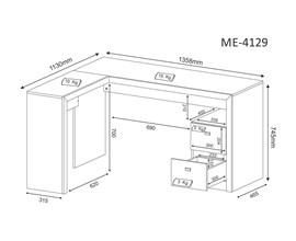 Mesa de Escritório Para Canto Me4129 Branco Tecno Mobili