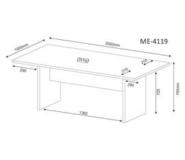 Mesa de Escritório para Reunião ME4119 Amêndoa Tecno Mobili