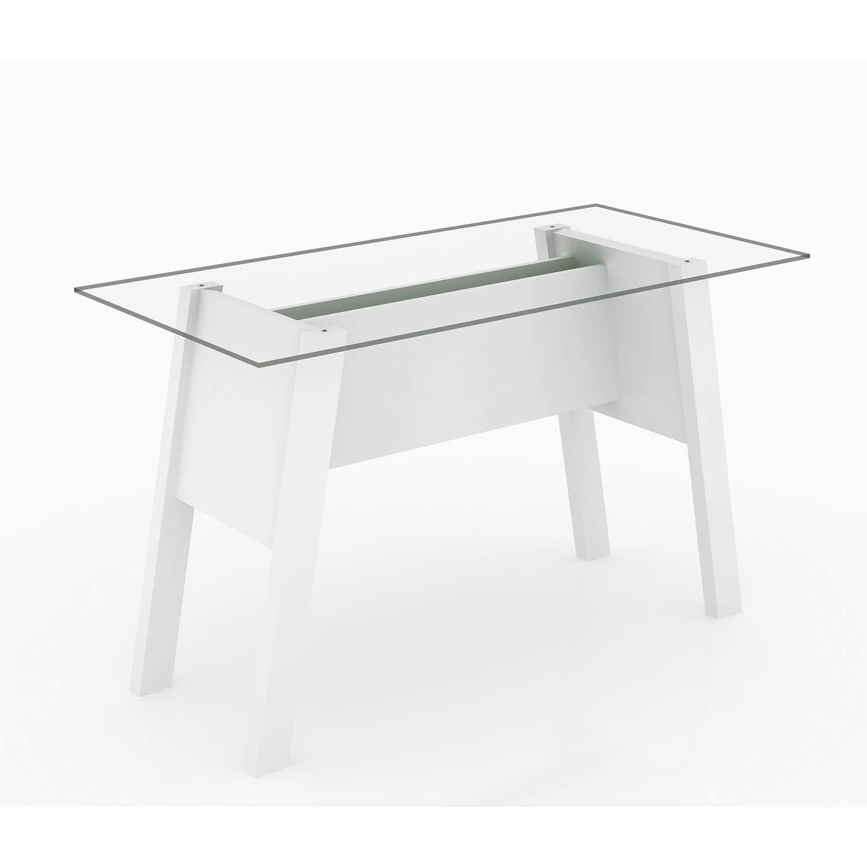 Mesa de Escritório Tampo de Vidro Me4134 Branco Tecno Mobili