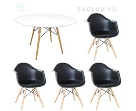 Mesa de Jantar Eiffel com 4 Cadeiras Charles Preta Casa Aberta Brasil