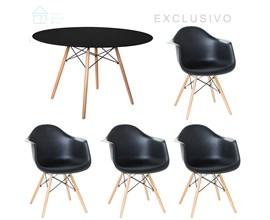 Mesa de Jantar Eiffel Preta com 4 Cadeiras Charles Preta Casa Aberta Brasil