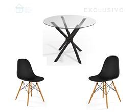 Mesa de Jantar Redonda com 2 Cadeiras Preta Casa Aberta Brasil