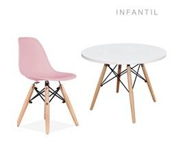 Mesa Infantil com 1 Cadeira Eiffel Rosa Casa Aberta Brasil