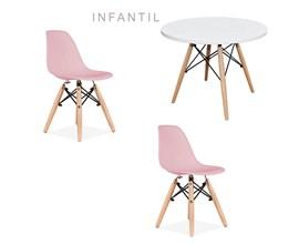 Mesa Infantil com 2 Cadeira Eiffel Rosa Casa Aberta Brasil