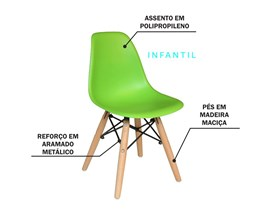 Mesa Infantil com 2 Cadeira Eiffel Verde Limão Casa Aberta Brasil