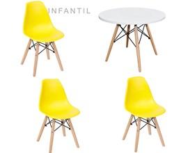Mesa Infantil com 3 Cadeira Eiffel Amarela Casa Aberta Brasil