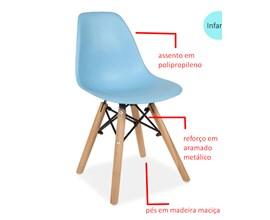 Mesa Infantil com 3 Cadeira Eiffel Azul Casa Aberta Brasil