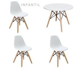 Mesa Infantil com 3 Cadeira Eiffel Branca Casa Aberta Brasil
