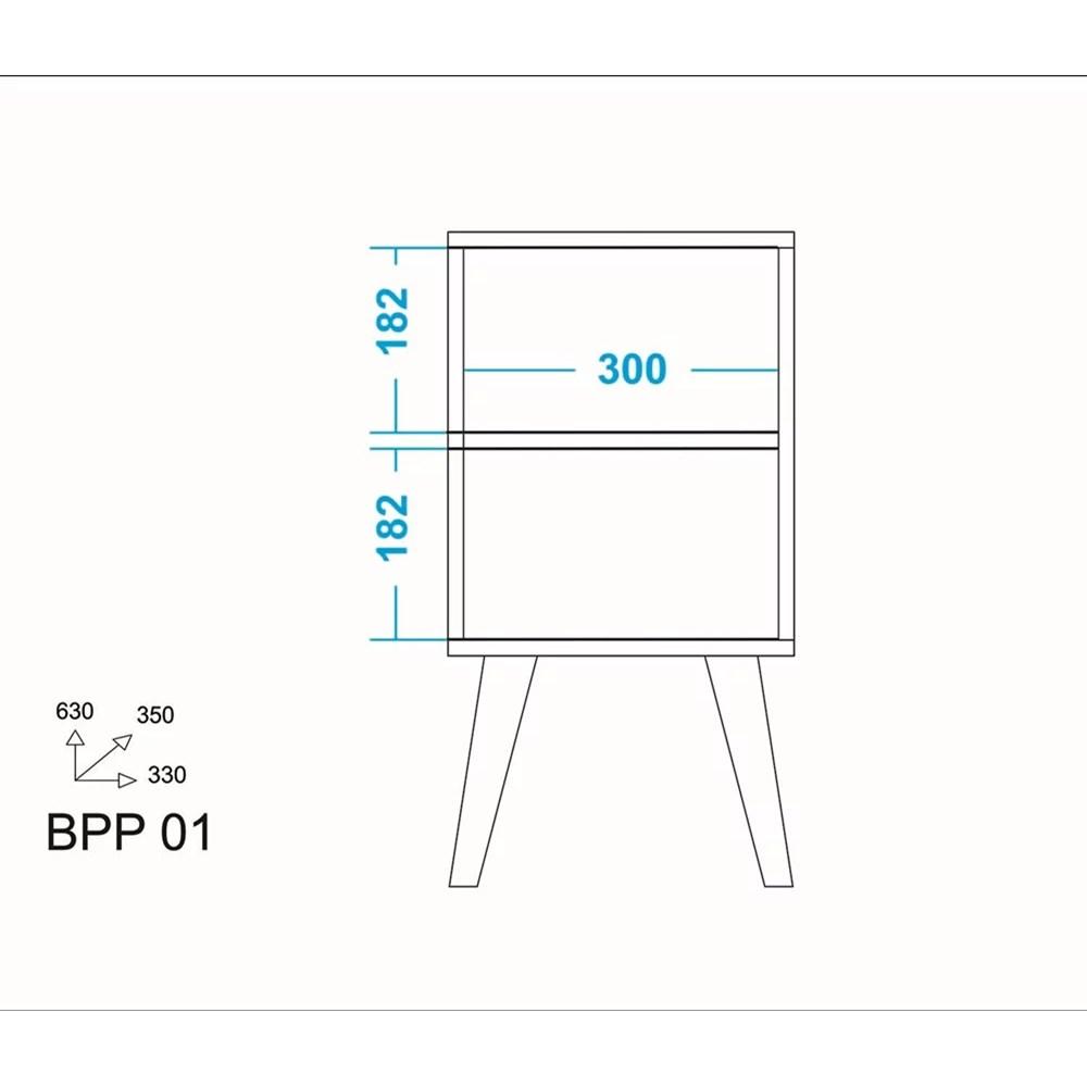 Mesa Lateral de Apoio Retrô Bpp01 Branco/pinhão Palito Brv Móveis