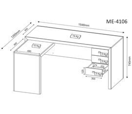 Mesa para Computador Officce ME4106 Tabaco Tecno Mobili