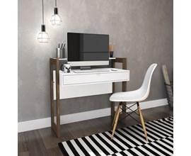 Mesa Para Escritório Az1007 Branca com Nogal Tecno Mobili