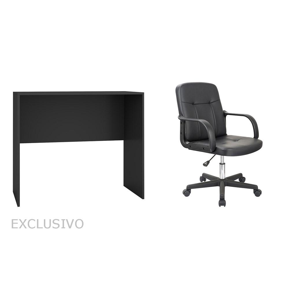 Mesa Para Escritório Blc31 Preta com Cadeira Giratória Preta Casa Aberta Brasil