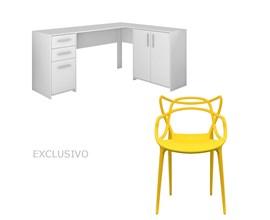 Mesa Para Escritório Nt2005 Branca Com Cadeira Allegra Amarela