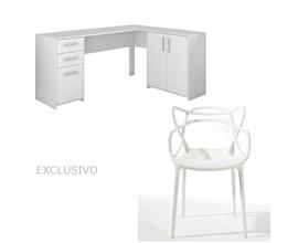 Mesa Para Escritório Nt2005 Branca Com Cadeira Allegra Branca