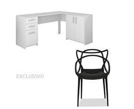 Mesa Para Escritório Nt2005 Branca Com Cadeira Allegra Preta