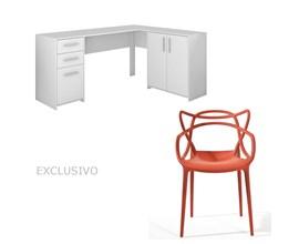 Mesa Para Escritório Nt2005 Branca Com Cadeira Allegra Vermelha