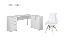 Mesa Para Escritório Nt2005 Branca com Cadeira Botonê Branca