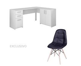 Mesa Para Escritório Nt2005 Branca com Cadeira Botonê Preta
