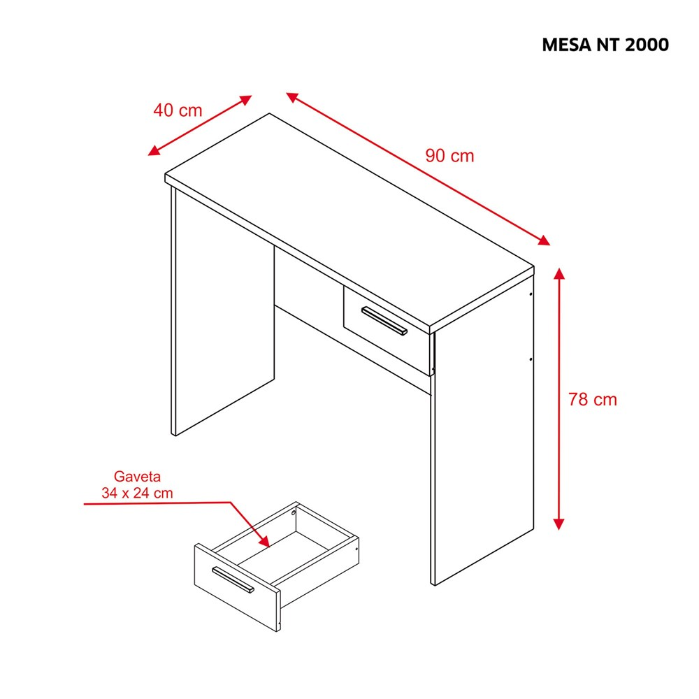 Mesa Para Escritório Office 90cm com 1 Gaveta Branca Nt2000 Notável Móveis