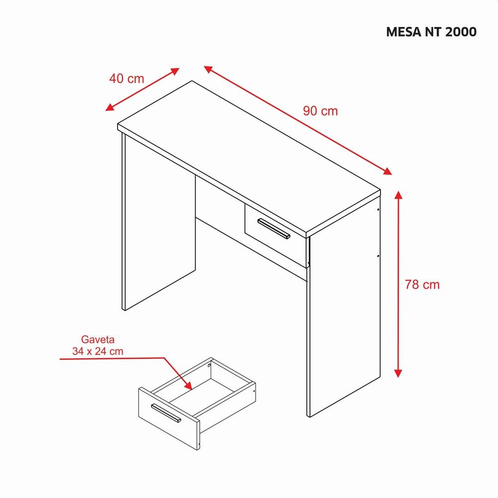 Mesa para Escritório Office 90cm com 1 Gaveta Nogal Trend NT2000 Notável Móveis