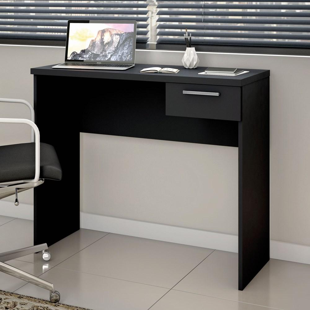 Mesa Para Escritório Office 90cm com 1 Gaveta Preta Nt2000 Notável Móveis