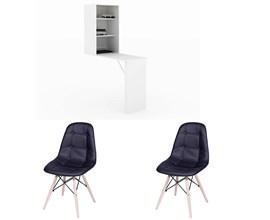 Mesa Para Manicure Am 3106 com 2 Cadeiras Botonê Preta Casa Aberta Brasil