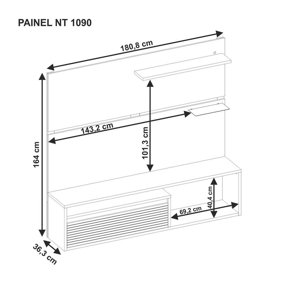 Painel Nt 1090 Para Tv Até 60 Polegadas Freijó Trend Notável Móveis