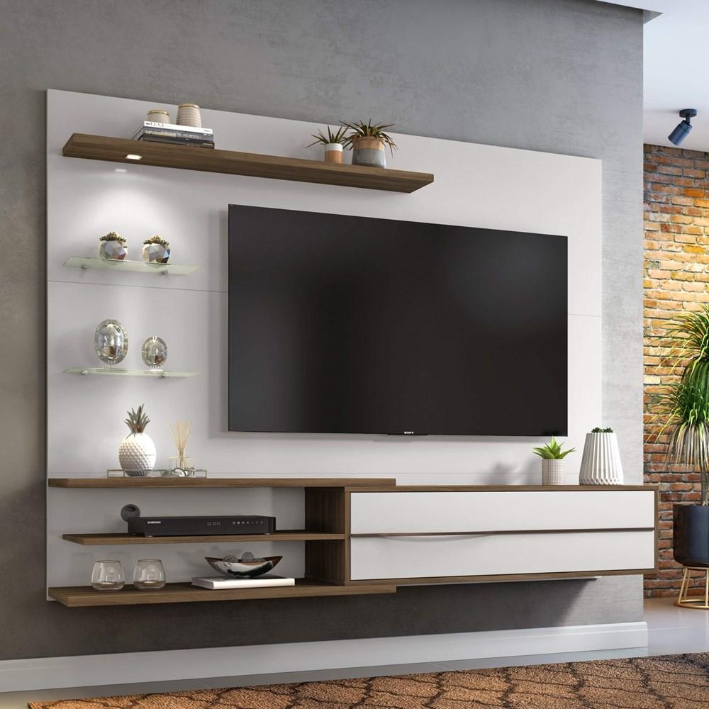 Painel Nt 1115 Para Tv Até 60 Polegadas Off White e Nogal Notável Móveis