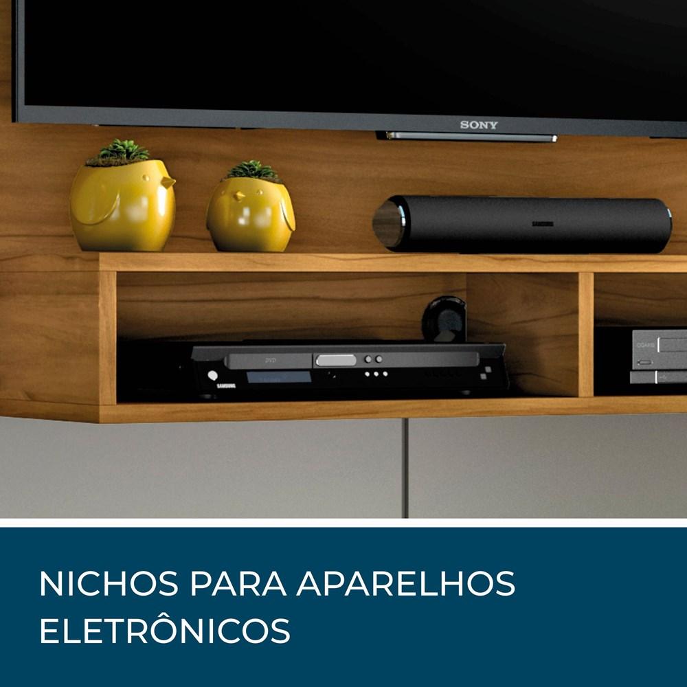Painel para Tv até 49 Polegadas com Nicho Eros Freijó Trend e Off White Notável Móveis