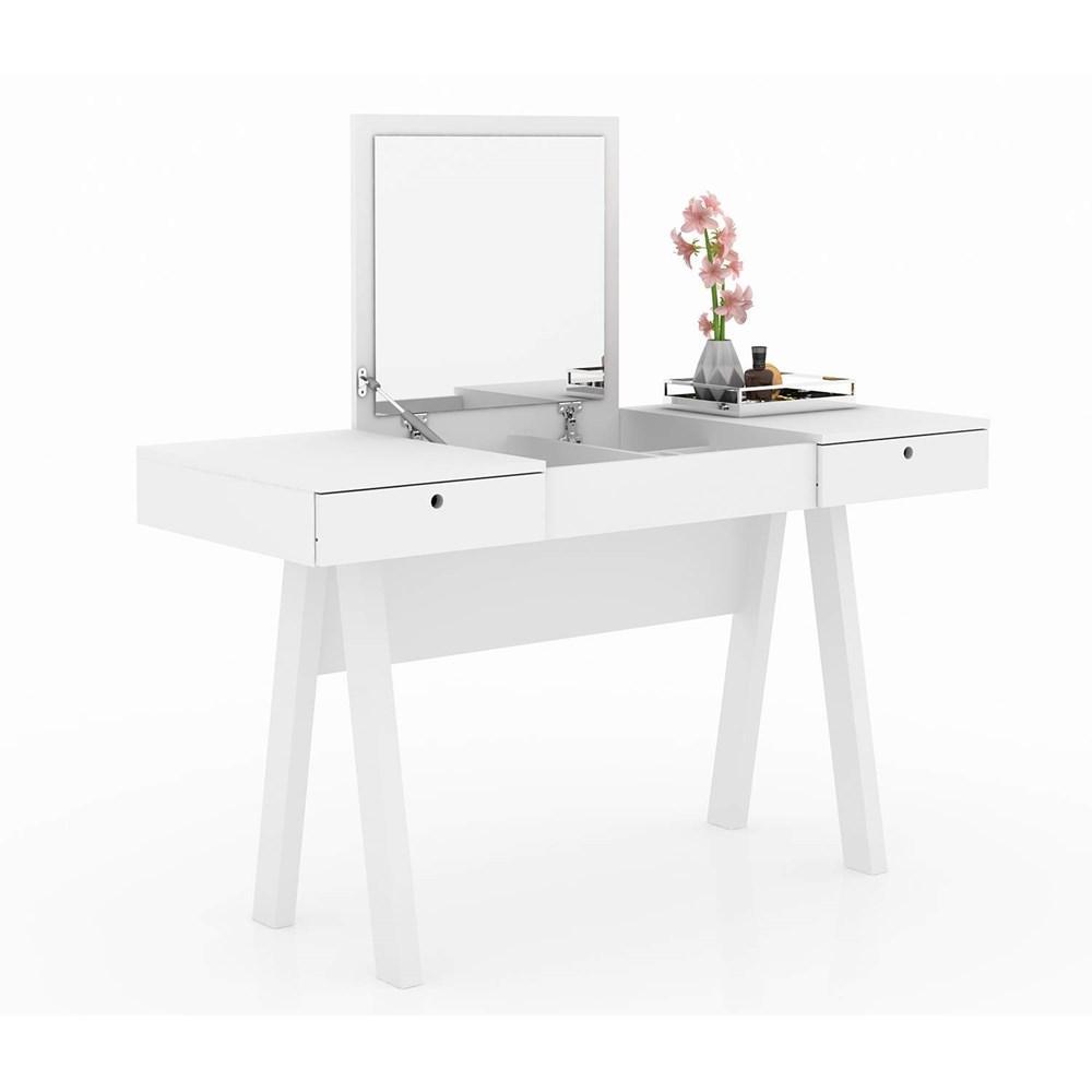 Penteadeira escrivaninha com espelho e 2 gavetas PE2002 Branco Tecno Mobili