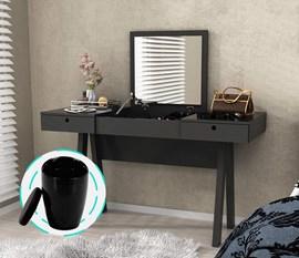 Penteadeira Escrivaninha Preto Tecno Mobili com puff preto