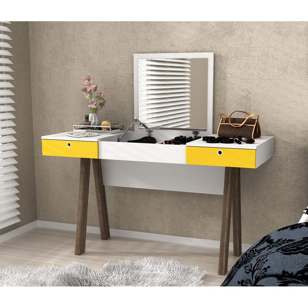 Penteadeira Pe2002 Branco/ Amarelo/noce Tecno Mobili