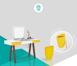Penteadeira PE2002 com Puff Amarelo Casa Aberta Brasil