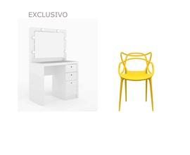 Penteadeira Pe2010 Branca com Cadeira Allegra Amarela Casa Aberta Brasil