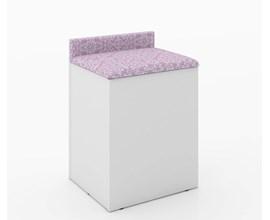 Puff Baú com Encosto Pe2052 Branco/rosa  Tecno Mobili