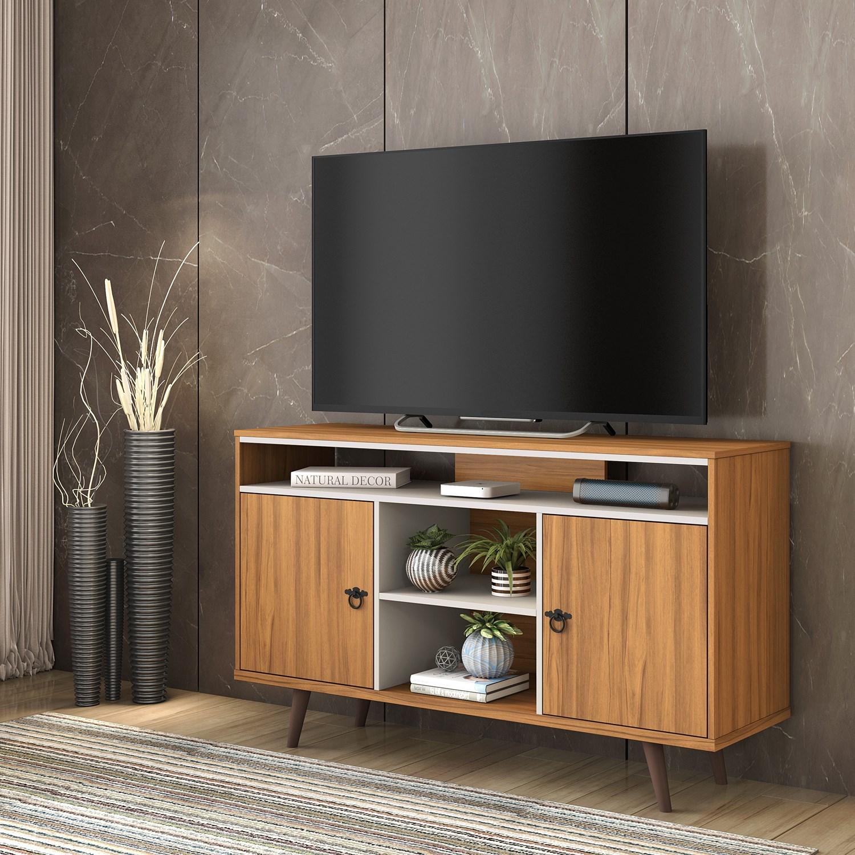Rack Aparador para TV até 50 polegadas NT1120 Freijó e Off white Amoudi Móveis